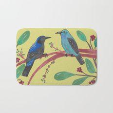 Asian Fairy-Bluebird Couple Bath Mat