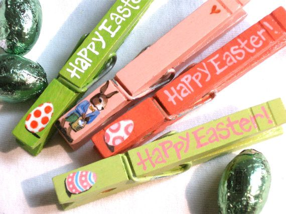 HAPPY EASTER CLOTHESPINS hand painted magnetic by SugarAndPaint, $12.40