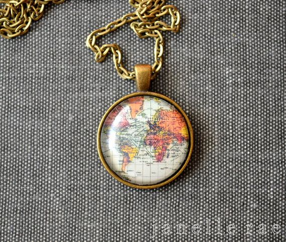 Globe Necklace Map Necklace Globe World Map by JanelleRaeJewelry, $13.00