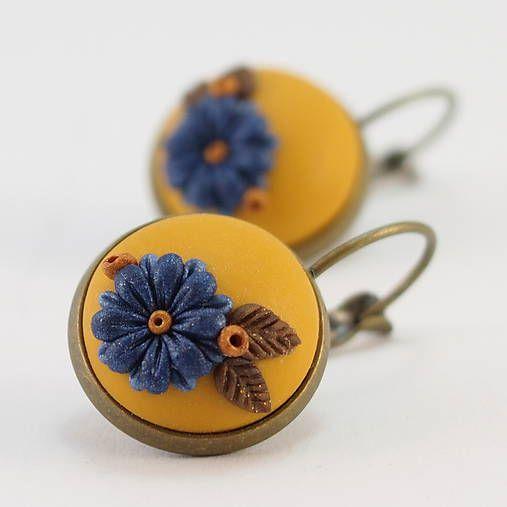 wandalkabeads / Polymérové náušnice,  modrý kvet