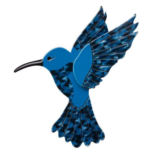 COMPARE- *FREE GIFT NEW Erstwilder 'Hyacinth' Blue Humming Bird Resin Brooch