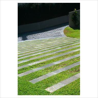 Contemporary paving with concrete strips in grass - Wentworth Road, Vaucluse, NSW, Australia