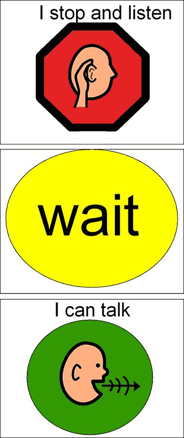 Wonderful visual support for learning language and communication. Stop, wait, then talk. #autism