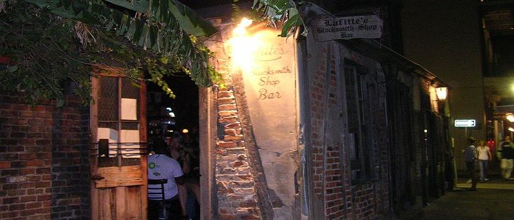 Bars: Louisiana, Lafitte's Blacksmith Shop, New Orleans.The building is from the early 1700's and the site of actual pirate smuggling operations. The bar portion came during the 1940s. This is a true dive, where they make a lethal potion out of straight grain alcohol.