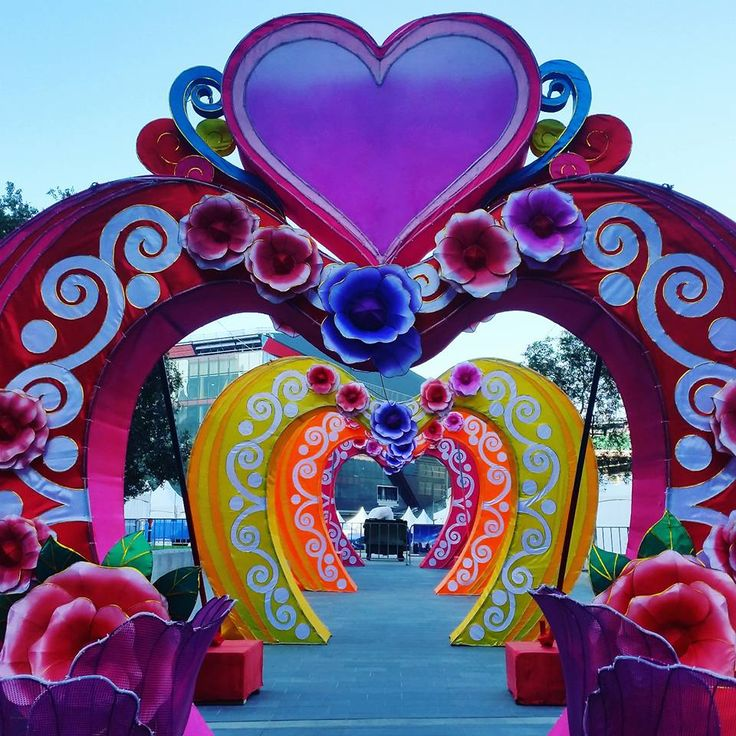 Love is in the air! Valentine's Day decoration on display in Darling Harbour, Sydney.