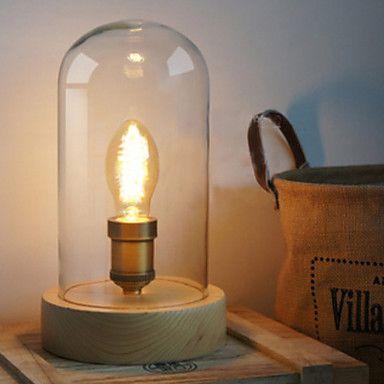 60W Creative tafel licht met glazen kap Hout Houder Licht in het Licht 2016 – €92.11