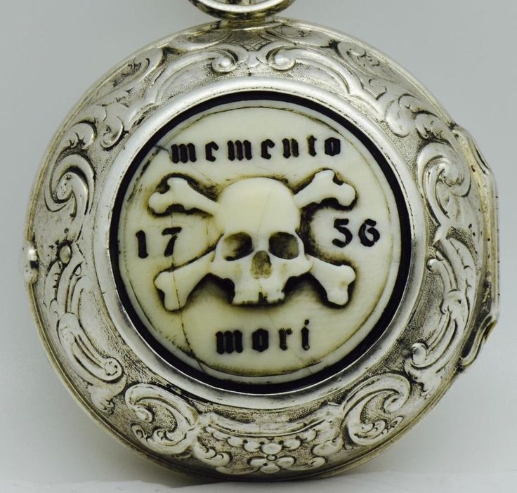 MUSEUM MEMENTO MORI SKULL Verge Fusee Oignon Repousse silver pair case watch