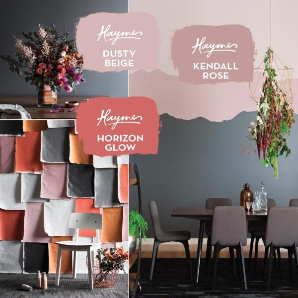 Dusty pinks and bright corals liven up grey backdrops, setting the scene for intimate spaces
