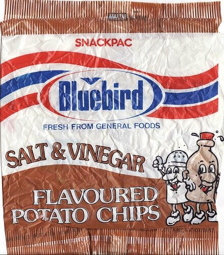 Bluebird Salt & Vinegar chips. Image via google- Flickr copyright NZ Collector. Just awesome to see, brings back school memories from the 1970's & 80's