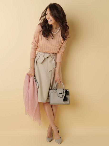 ハイカウントポリウエストリボンラップスカートです。こちらの商品はPLSTオンラインストアにて購入できます。