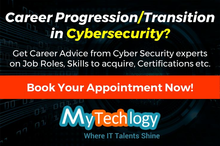 Career Progression / Career Transition into Cybersecurity? Get career advice from IT security experts on Job Roles & Responsibilities, Skill-set to acquire, Certifications and more. To book your appointment now, visit: https://www.mytechlogy.com/IT-career-development-services/?keyword=security&type=