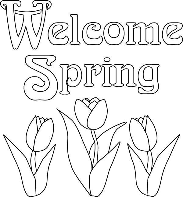 Free Print Out Spring Flowers Tulips Coloring Page For Kids