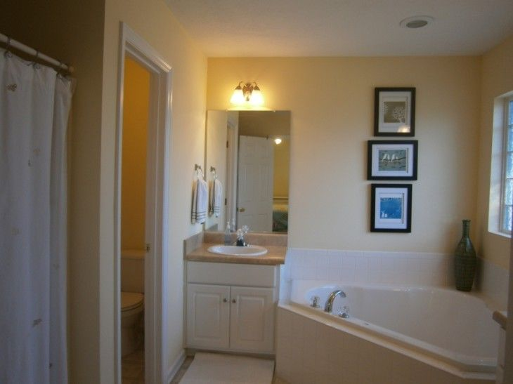 Bathroom Inspiring Bathroom Interior With White Bathtub And White Vanity Cabinets And Mirror - pictures, photos, images