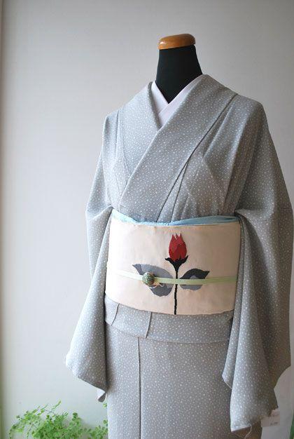 涼しげなあられ江戸小紋(絽)と一輪の薔薇の綴れ帯 | ちぇらうなぼるた雑記帳