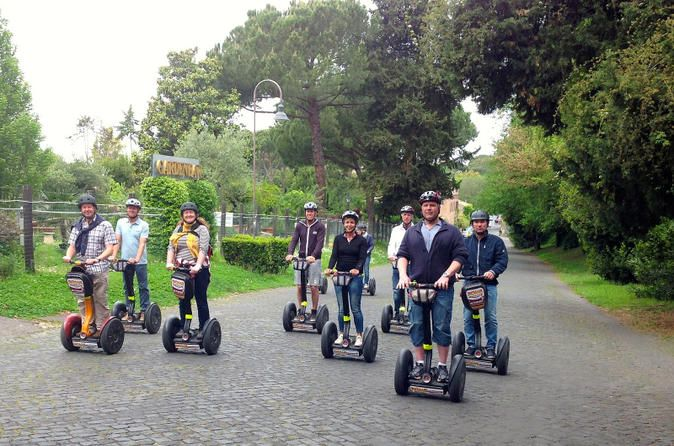 Segway tour of Appian Way in Rome Glide down Appian Way, one of the first paved roads in history, on this 4.5-hour Segway tour from Rome. With an expert tour leader leading the way, cruise through the historical streets surrounding the Colosseum before arriving at the ancient Appian Way. See sights such as the majestic Porta San Sebastiano and Capo di Bove, an archaeological site dating back to 2nd century AD, before feasting on a delicious, 2-course lunch. This group is...