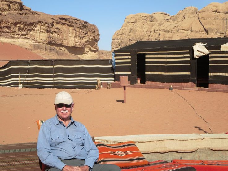 David Stanley relaxing at a Wadi Rum desert camp in southern Jordan.
