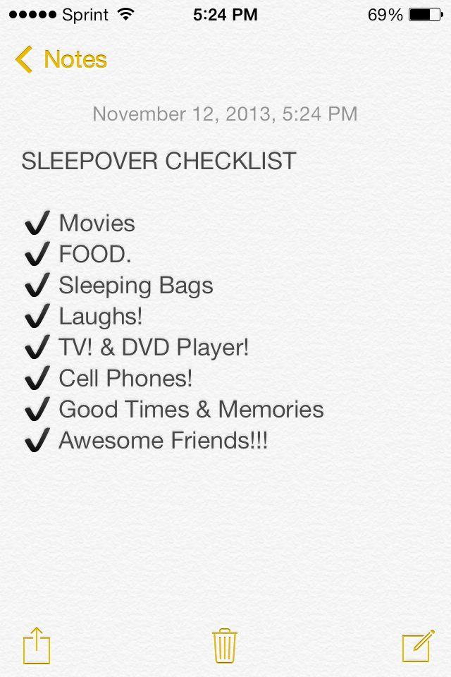 Sleepover Checklist Sleepover Fun Ideas Amp Of Course