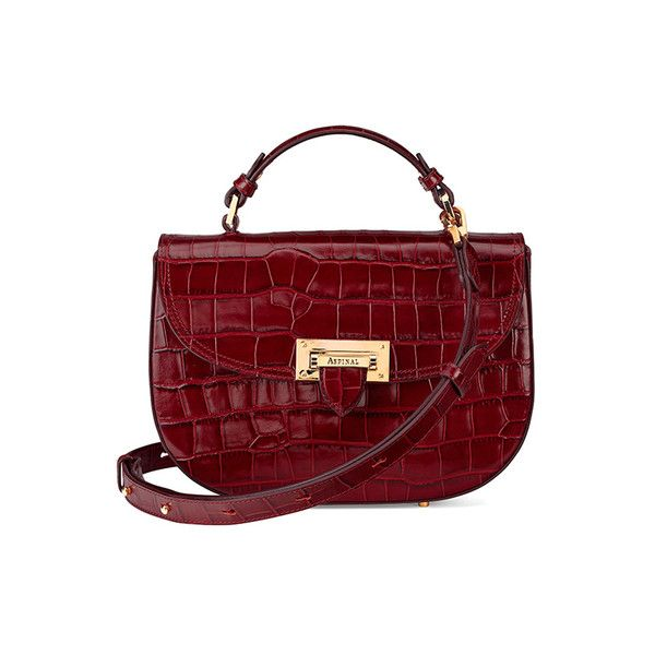 Aspinal of London Women's Letterbox Croc Saddle Bag - Bordeaux (1.755.605 COP) ❤ liked on Polyvore featuring bags, handbags, shoulder bags, structured purse, shoulder strap handbags, fold over purse, red crocodile purse and crocodile handbags