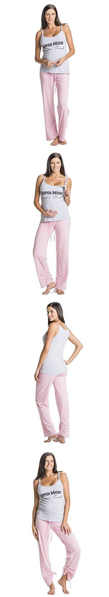 You! Lingerie Super Mom Super Tired Maternity Nursing Pajamas Set (X-Large, Grey)