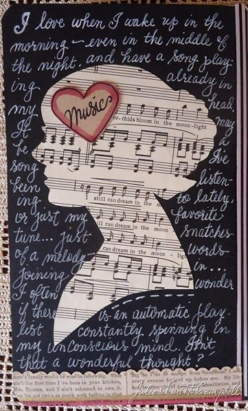 A mind full of music.  A new page from one of my art journals.