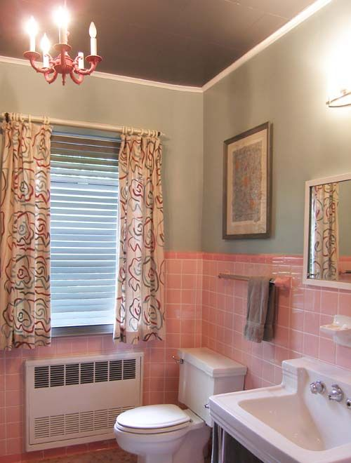 73 best images about what to do with a 50 39 s pink bathroom for Pink and brown bathroom ideas