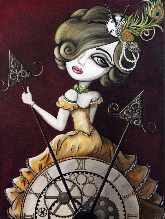 8 x 10 Fine Art Print de pintura grande arte ojo de halcón de Lizzy, arte Steampunk