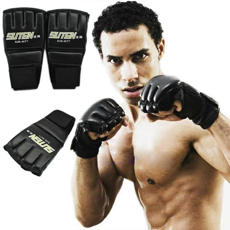 1 Pair PU Half Finger Boxing Glove Gym MMA Thai Sparring Training Ultimate Mitts Fingerless Gloves Boxing Punch 4 Colors 2016