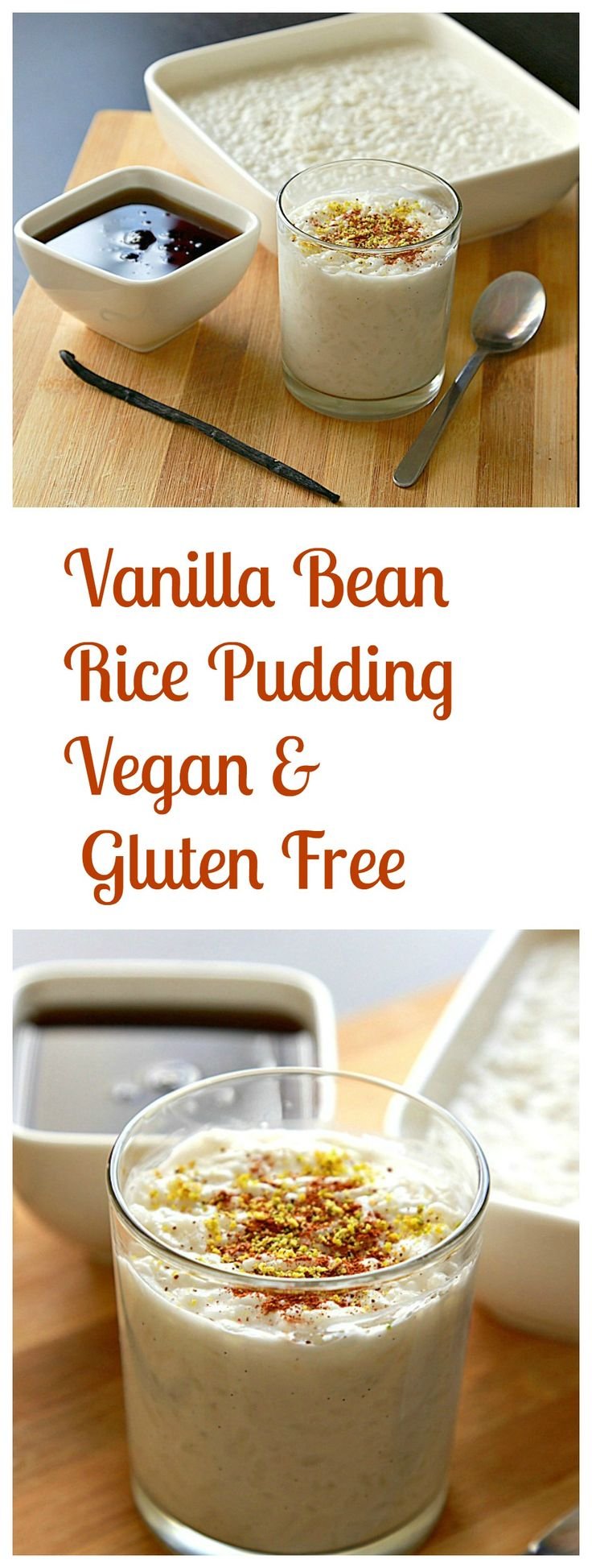This smooth silky creamy rice pudding is flavored with vanilla bean. It's very healthy, vegan, refined sugar free, and gluten free too!