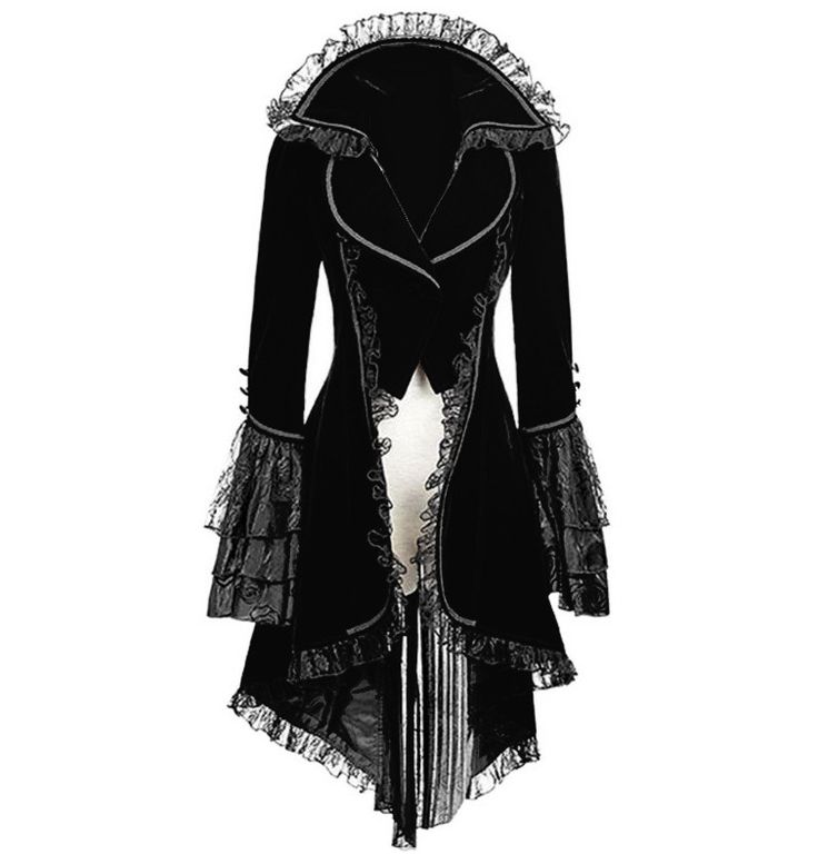Black Steampunk Victorian Style Gothic Coat Turn down Collar with Full Lace Dovetail. Incredible quality and workmanship, This coat is a masterpiece.