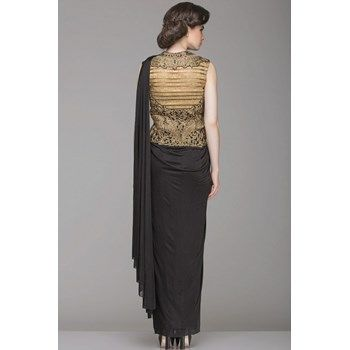 Dresses,Black Draped Saree with Heavy Golden Work