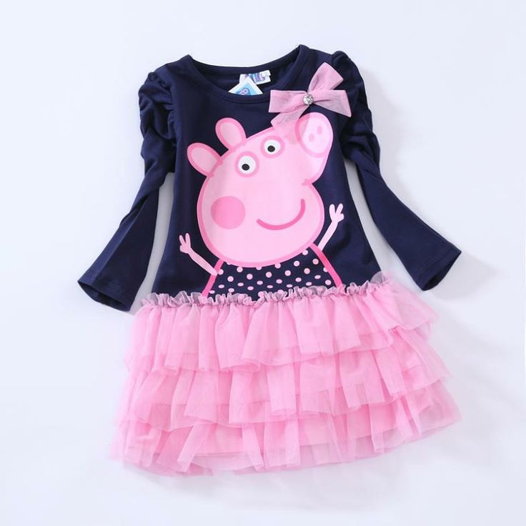 New Arrival Navy Blue Peppa Pig Dress Long Sleeve Autumn Dress Princess Party Dress Tutu Dress Best Gift for Kids $49.41