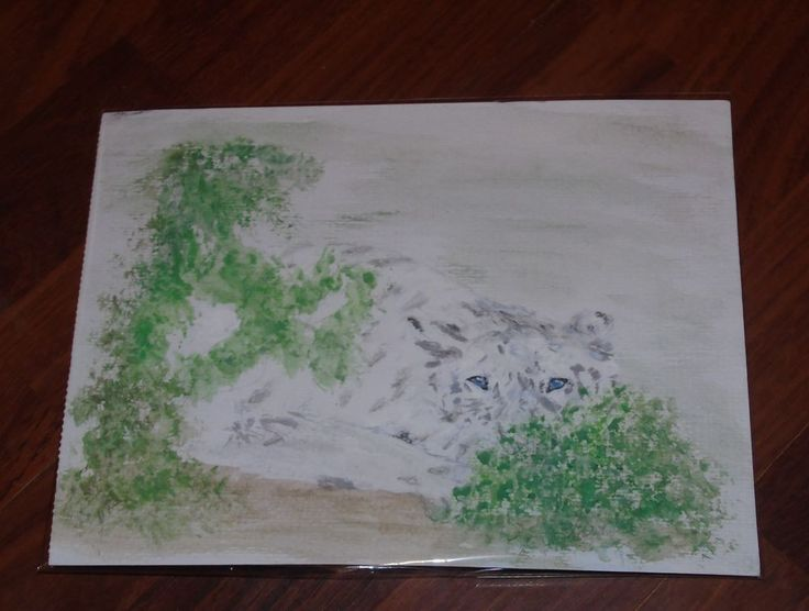 Hidden Tiger Painting 10 by 8 inches on Paper Artist Sharon Louise Brooks