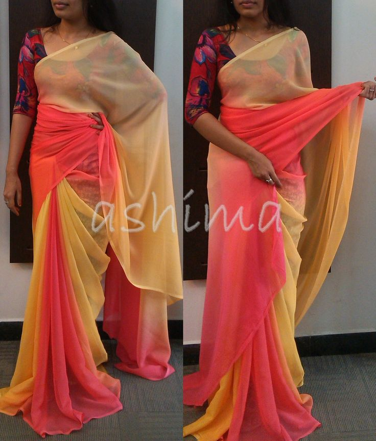 Code:0501162- Shaded Chiffon Saree- Price INR:3990/-