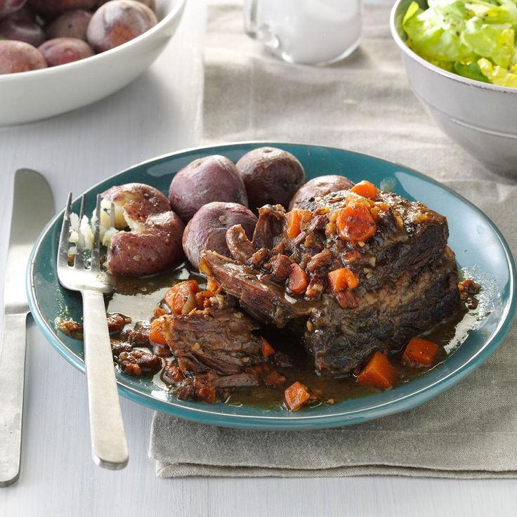 Slow-Cooked Short Ribs with Salt-Skin Potatoes Recipe -I love short ribs, and they are best prepared low and slow in a flavorful sauce. I also love salt potatoes, so combined the two with an Italian twist. My family was wowed! —Devon Delaney, Westport, Connecticut