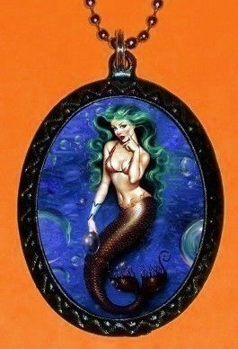 Green Haired Mermaid Pinup Necklace pendant by sweetheartsinner, $7.00