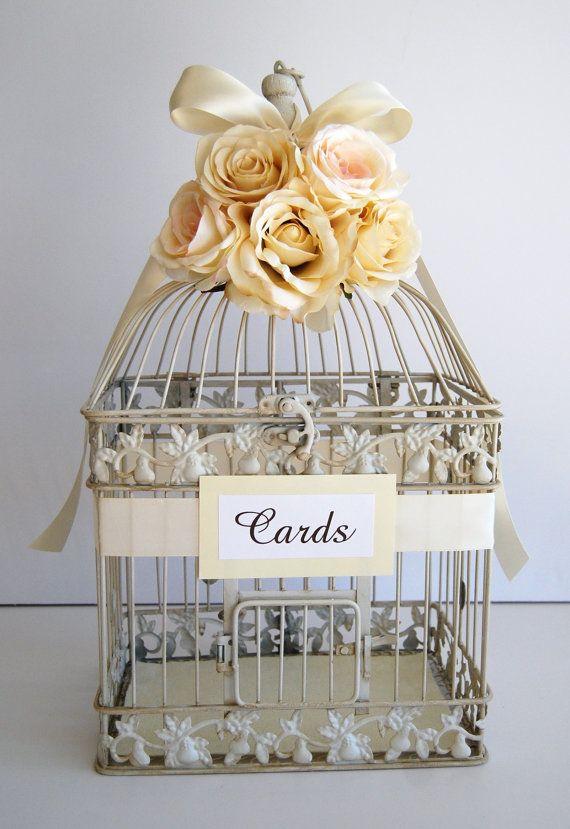 For Scarlett: Custom Large Wedding Bird Cage Card Holder Money Holder - Ivory, Champagne, Sahara, $62.00