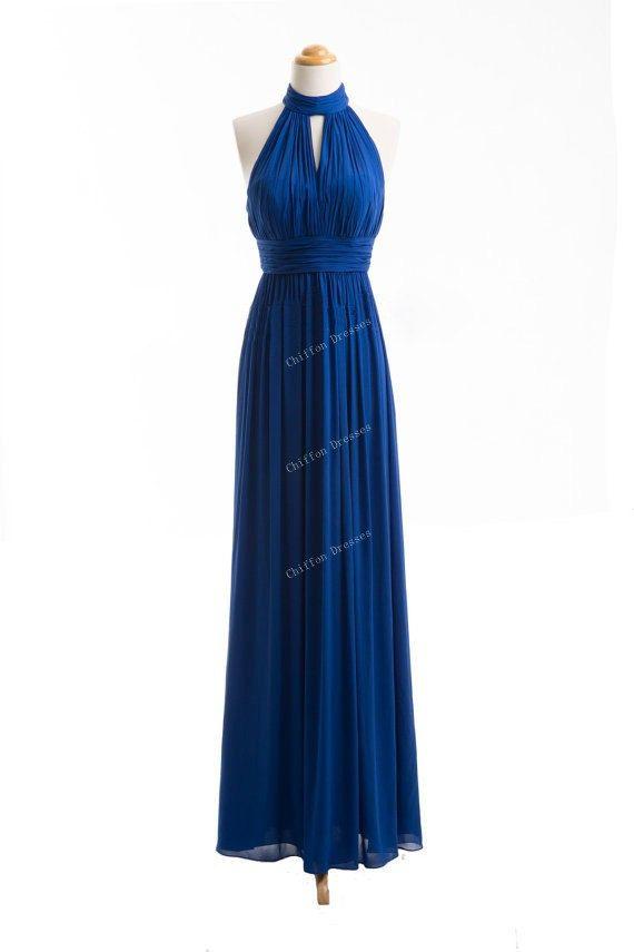 High Neck Long Bridesmaid Dress