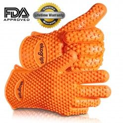 #1 Silicone BBQ Gloves Perfect For Use As Heat Resistant Cooking Gloves, Grill Gloves, Or Potholder By Jolly Green Products - FDA approved, pure silicone orange gloves best fit those who are looking for a water and oil resistant gloves with no worry of scalding even the hands are dipped in boiling water. It is tested heat resistant for up to 425 degrees Fahrenheit and its five-finger hold ensure no slip. Water proof and highly resistant to any types of dirt and can wash it easily.