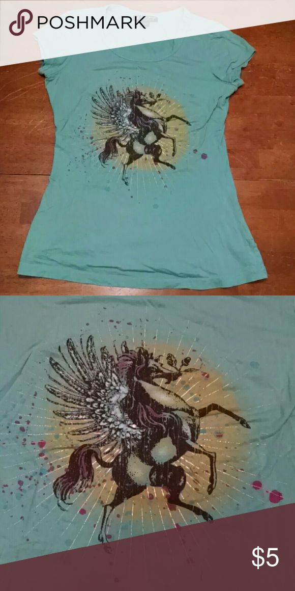 Teal T-shirt large juniors size Cute teal T-shirt with Pegasus graphics.  Juniors large by Self Esteem  Lightly worn Self Esteem Tops Tank Tops