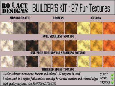 ..::RO!ACT::..DESIGNS Builder's Kit: 27 Fur Textures