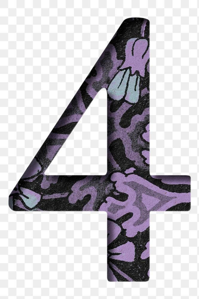 Vintage Floral Purple Number 4 Png Typography Free Image By Rawpixel Com Baifern Free Png Vintage Floral Png