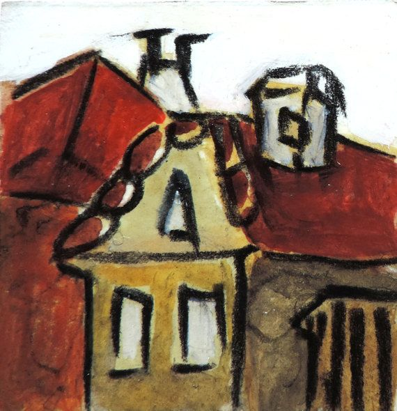 Small acrylic painting, Roofs in Transylvania, miniature art, small format contemporary painting, original from Romania, unique original art