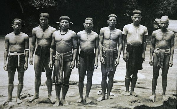Dayak Headhunters   Pictured are some of the Dayaks who protected the US airmen and fought ...