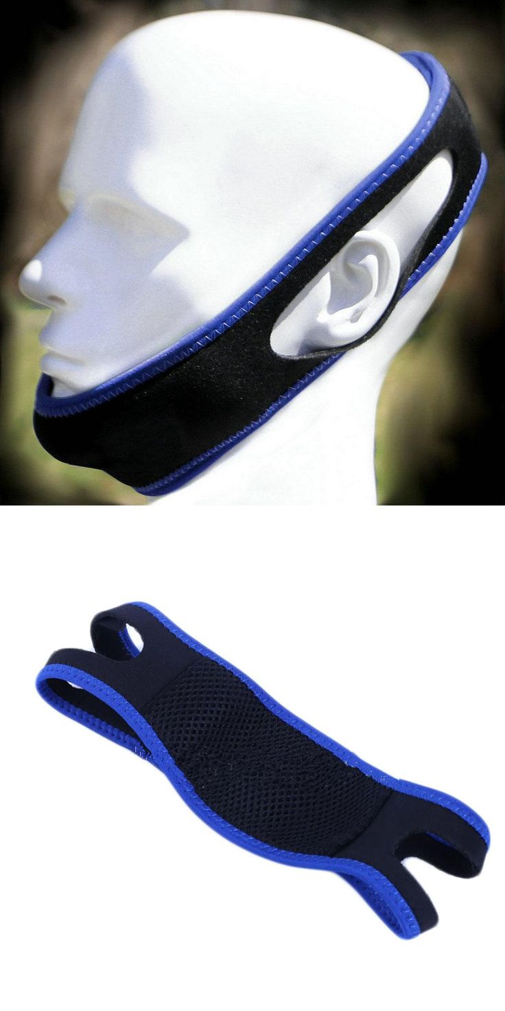 [Visit to Buy] anti-snore apparatus with anti-snore chin strap with anti-snore headband nasal snoring grunting belt black color with blue side #Advertisement