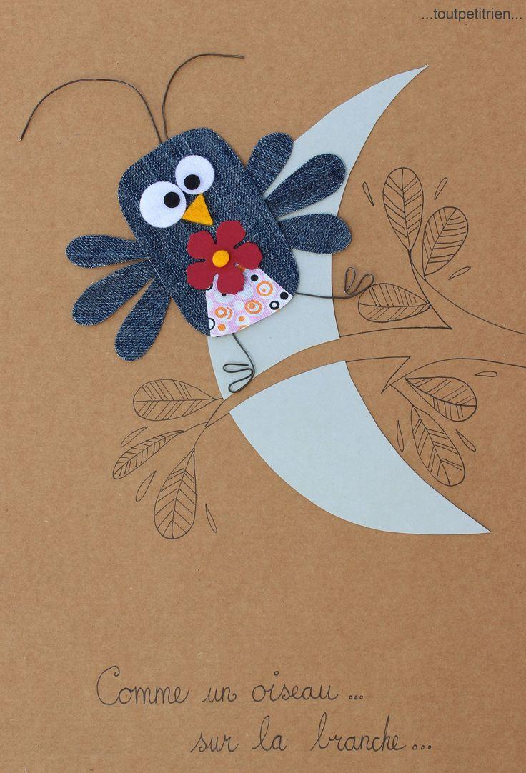 Comme un oiseau sur la branche... #jeans #recycle www.toutpetitrien.ch/collec/ - fleurysylvie