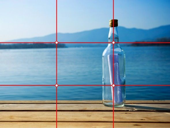this is an example of rule of thirds because the bottle is the main focus and the sky is only 1/3 of the picture The hot spot would be the bottle because its where the two lines intersect