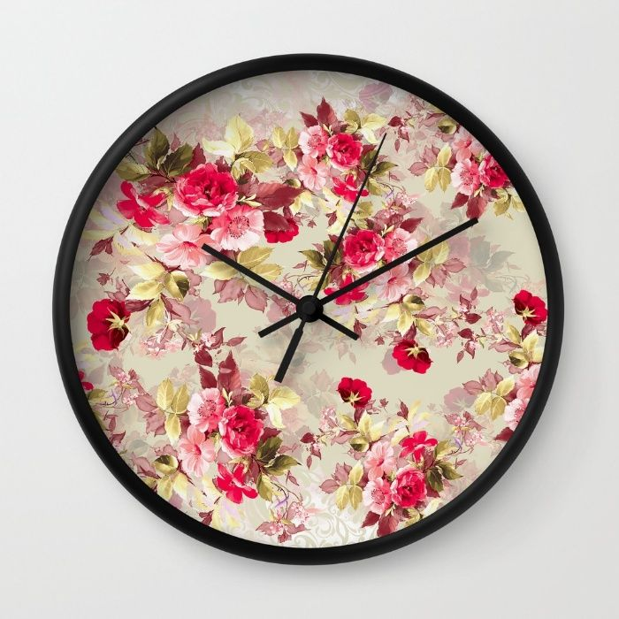 Vintage Roses Wall Clock #vintage #roses #red #women #scarf #fashion #fashionable #floral #flowers #home #interiors
