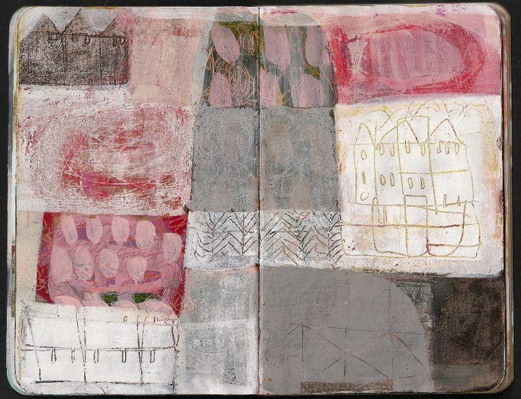 Leather Sketchbook- Easter Monoprinting , Textiles Sketchbooks , Inspiration for CAPI Students @ milliande.com