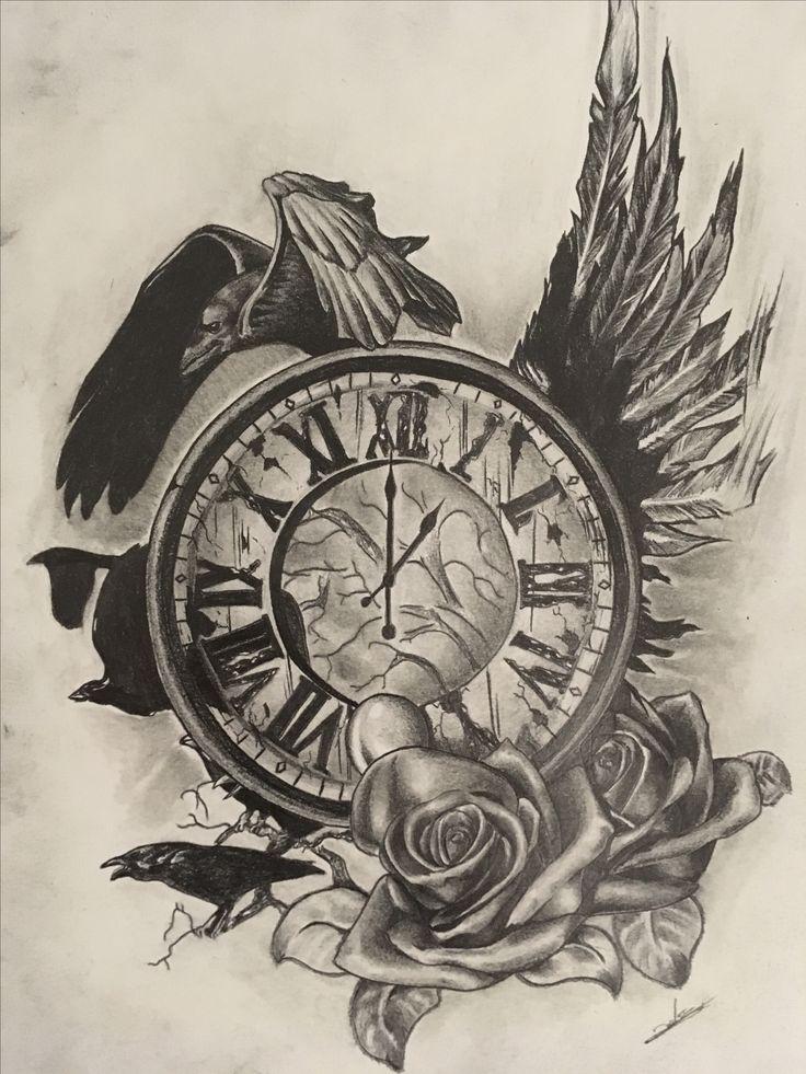 horloge corbeaux tattoo jesus tattoo time clock tattoo s raven tattoo. Black Bedroom Furniture Sets. Home Design Ideas