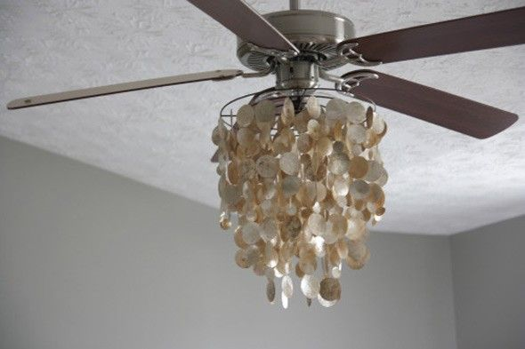 fantastic DIY ceiling fan upgrade which takes advantage of a shimmery, neutral chandelier. This easy upgrade will up the wow-factor of any stock ceiling fan.